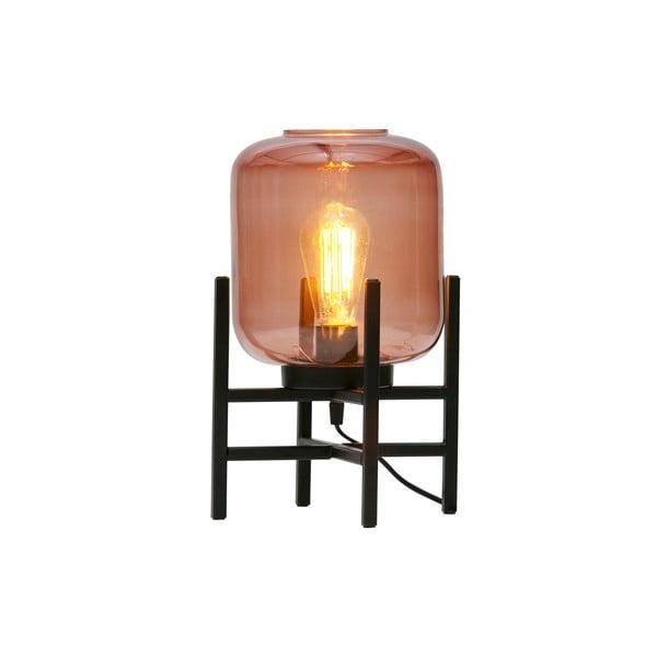 Ružovo-čierna stolová lampa so skleneným tienidlom WOOOD Abel