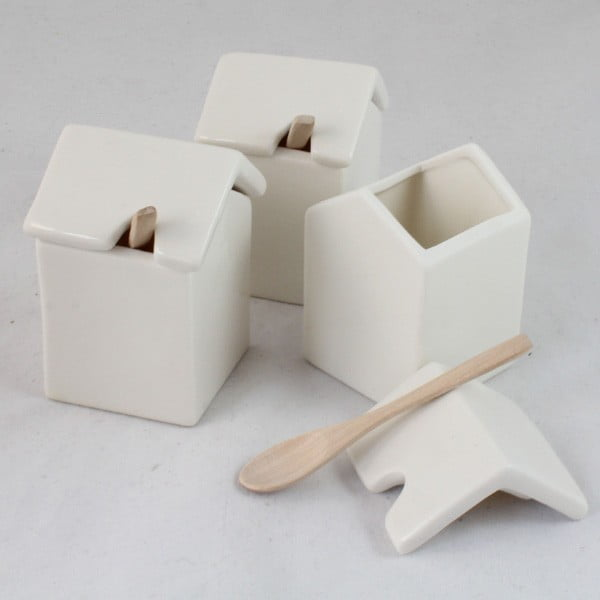 Sada 3 keramických dóz se lžičkou Dakls White Home
