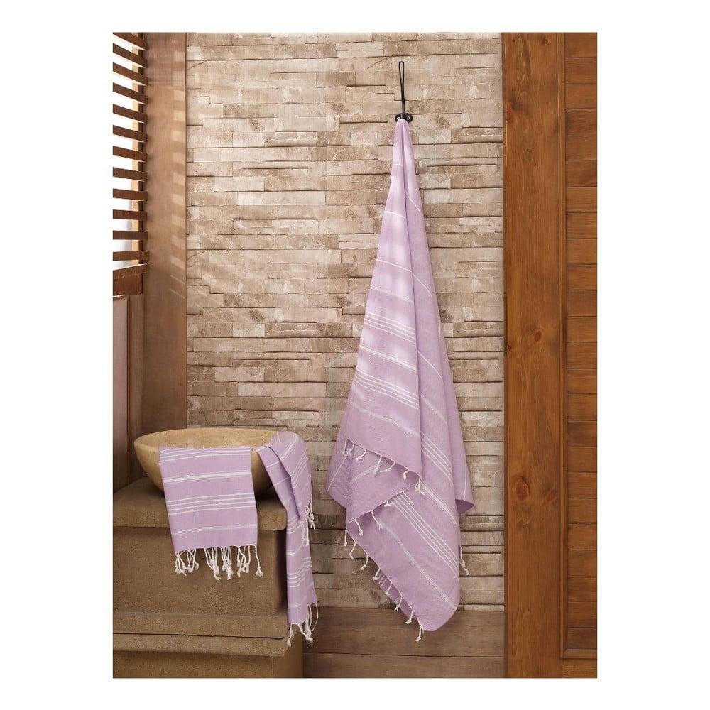 Set fialového ručníku a osušky Hammam ze 100% bavlny Sultan