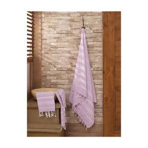 Sada fialového ručníku a osušky Hammam Sultan