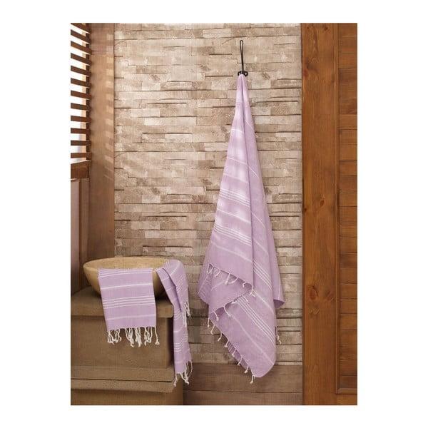 Set fialového uteráka s osuškou Hammam zo 100% bavlny Sultan