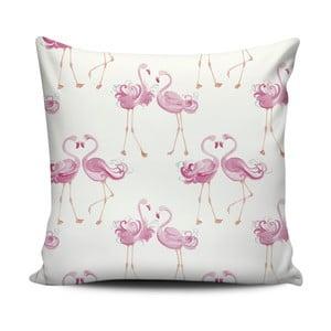 Růžovobílý polštář Home de Bleu Love Flamingos, 43x43cm