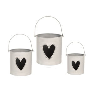 Sada 3 luceren Heart Candles, bílá
