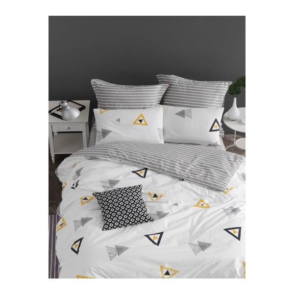 Lenjerie de pat cu cearșaf din bumbac ranforce, pentru pat dublu Mijolnir Erois White, 200 x 220 cm