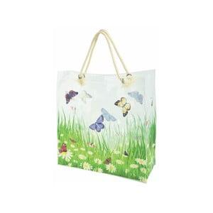 Bílá nákupní taška s potiskem motýlů Ego Dekor Butterfly