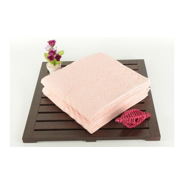 Zestaw 2 ręczników kąpielowych ze 100% bawełny Kalp Pink, 50x90 cm