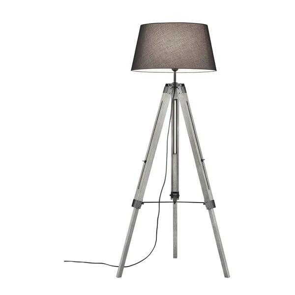 Lampadar din lemn și pânză Trio Tripod, înălțime 143 cm, gri