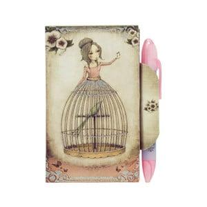 Set zápisníku s magnetickým zapínáním a pera Santoro London Mirabelle Lost Song