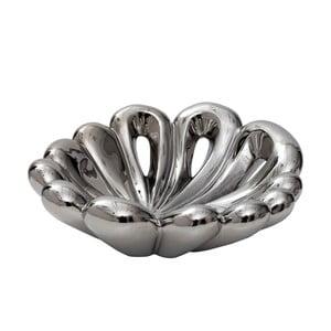 Bol decorativ din porțelan Mauro Ferretti Polly, 31 cm, argintiu