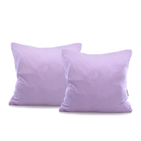 Sada 2 fialových bavlněných povlaků na polštáře DecoKing Amber Violet, 40 x 40 cm