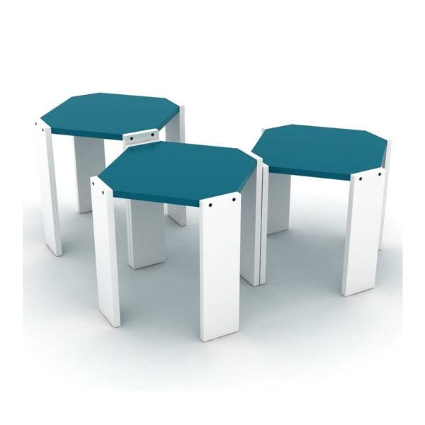 Zestaw 3 białych stolików z niebieskim blatem Rafevi Hansel