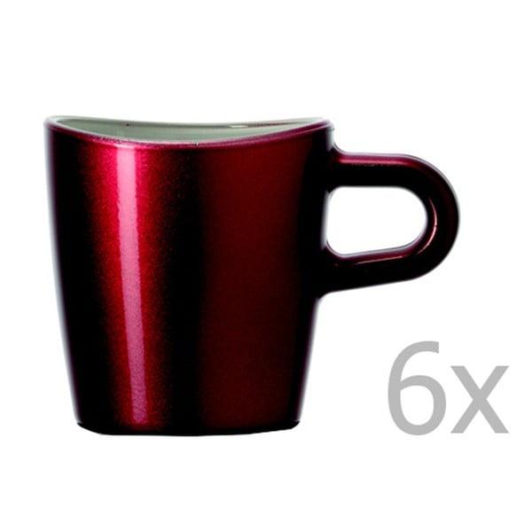 Sada 6 červených metalických hrnků na macchiato LEONARDO Loop, 75 ml