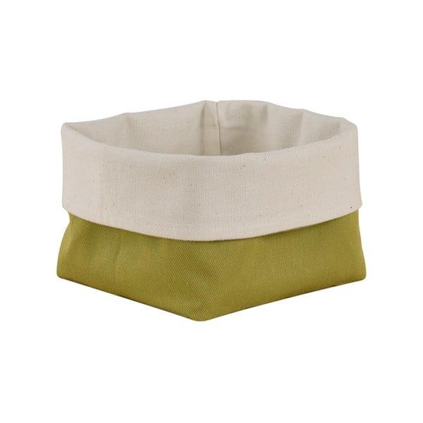 Coș de depozitare produse patiserie din bumbac Furniteam Bread, verde - alb