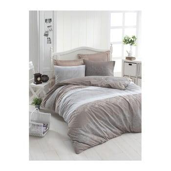 Lenjerie de pat din bumbac ranforce pentru pat de 1 persoană Mijolnir Silvia Brown, 140 x 200 cm de la Mijolnir