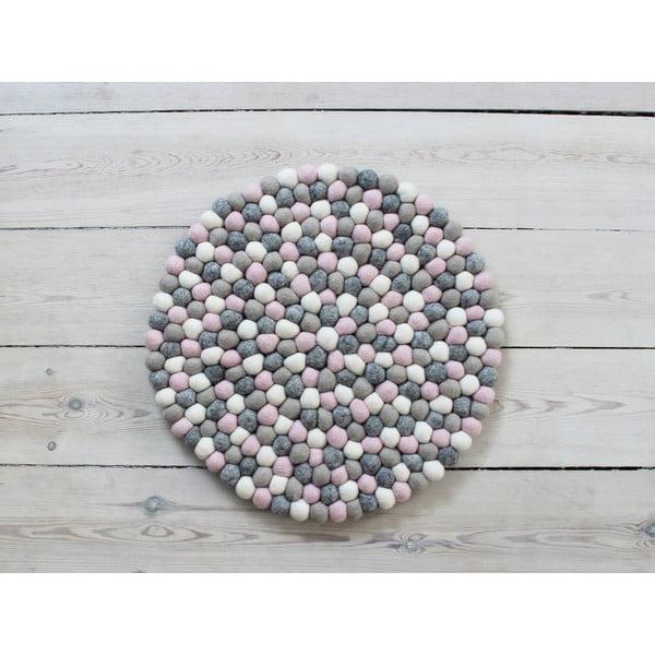 Svetlý ružovo-sivý guľôčkový vlnený podsedák Wooldot Ball Chair Pad, ⌀ 39 cm