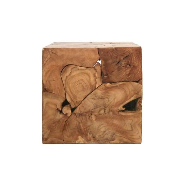 Příruční stolek z teakového dřeva HSM collection Cube, 40 x 40 cm