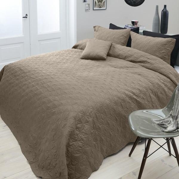 Hnědý přehoz přes dvoulůžko se dvěma povlaky na polštář Sleeptime Grace,260x250cm