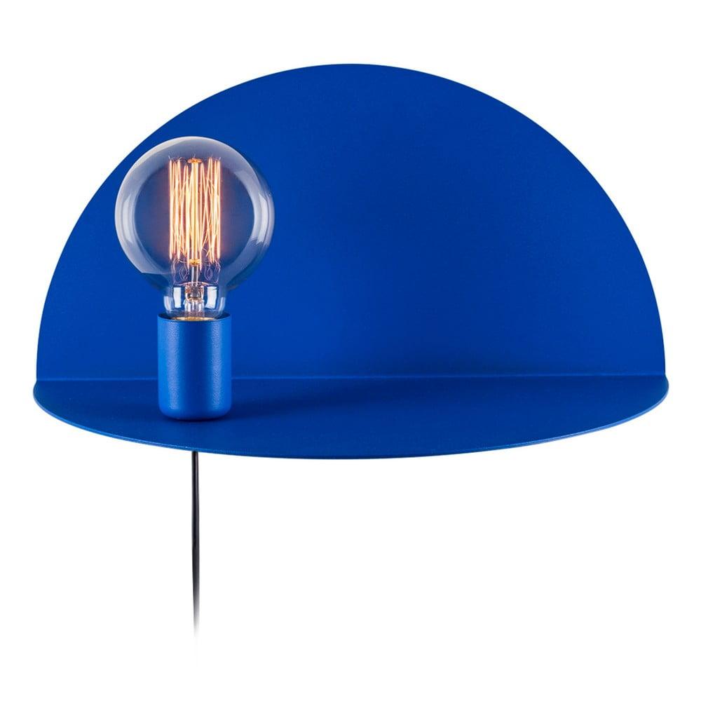 Modrá nástěnná lampa s poličkou Shelfie Bella