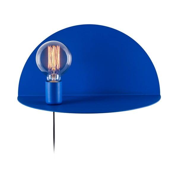 Modrá nástěnná lampa s poličkou Shelfie, výška 20 cm