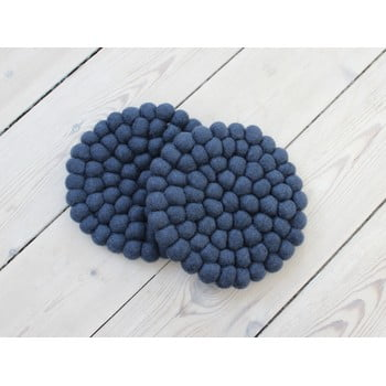 Suport pahar cu bile din lână Wooldot Ball Coaster, ⌀ 20 cm, albastru închis
