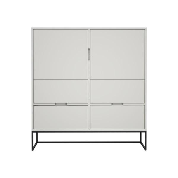 Dulap cu 2 uși și 4 sertare, MISTY Tenzo Lipp, înălțime 127 cm, alb