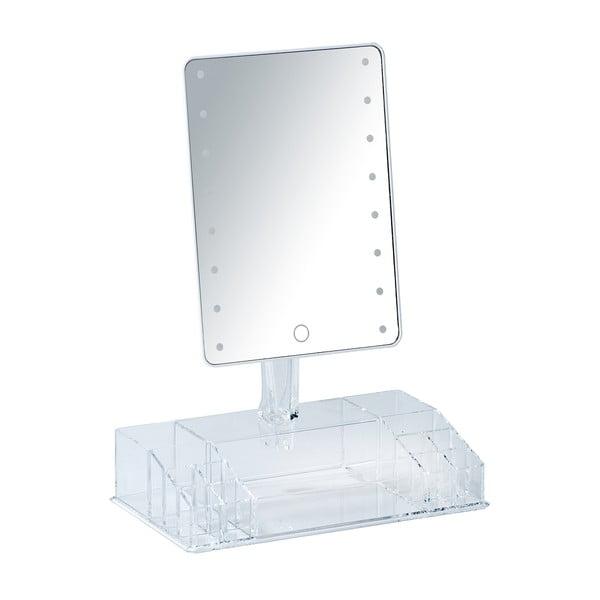 Oglindă cosmetică cu ancadrament LED și organizator pentru machiaje Wenko Farnese, alb