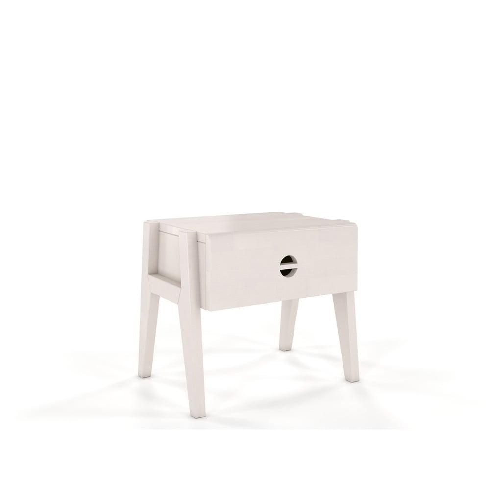 Bílý noční stolek z bukového dřeva se zásuvkou Skandica Visby Radom
