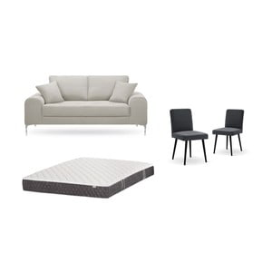 Set dvoumístné krémové pohovky, 2antracitově šedých židlí a matrace 140 x 200 cm Home Essentials