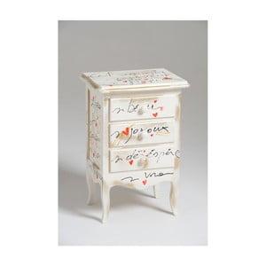 Noptieră din lemn cu 3 sertare Castagnetti Signac, alb