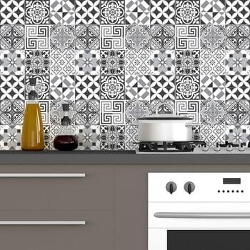 Set 60 autocolante Ambiance Elegant Tiles Shade of Gray 10 x 10 cm