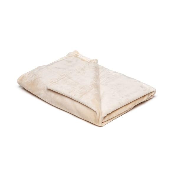 Světle béžová mikroplyšová deka My House, 150x200cm