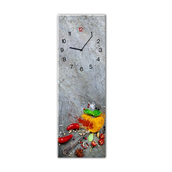 Glassclock Silver Spoon falióra, 20 x 60 cm - Styler