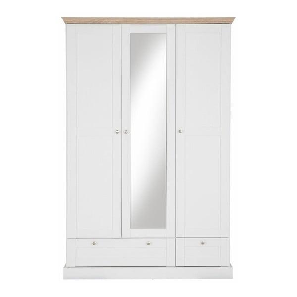 Bruce fehér háromajtós ruhásszekrény tükörrel, tölgyfa dekor részletek - Støraa