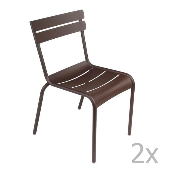 Sada 2 hnědých židlí Fermob Luxembourg