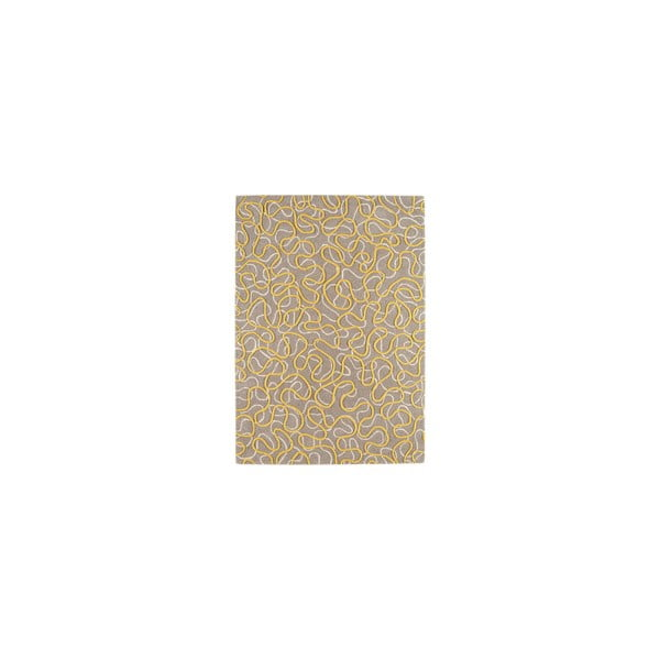 Vlněný koberec Squiggle Yellow, 160x230 cm