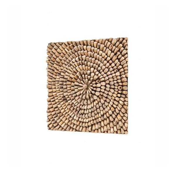 Nástěnná dekorace z teakového dřeva WOOX LIVING Bee, 70x70cm