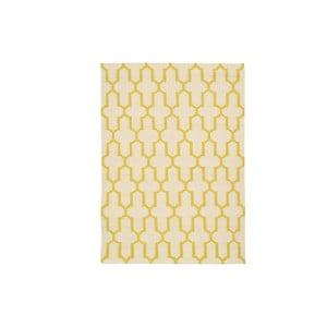 Ručně tkaný koberec Yellow Lines Kilim, 156x225 cm