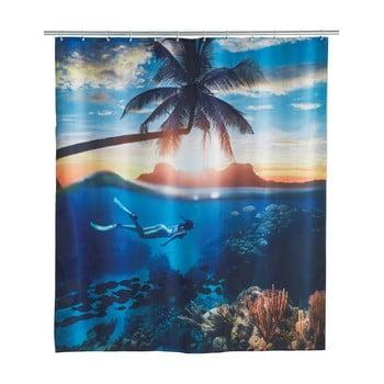 Perdea duș Wenko Paradise, 180x200cm, albastru imagine