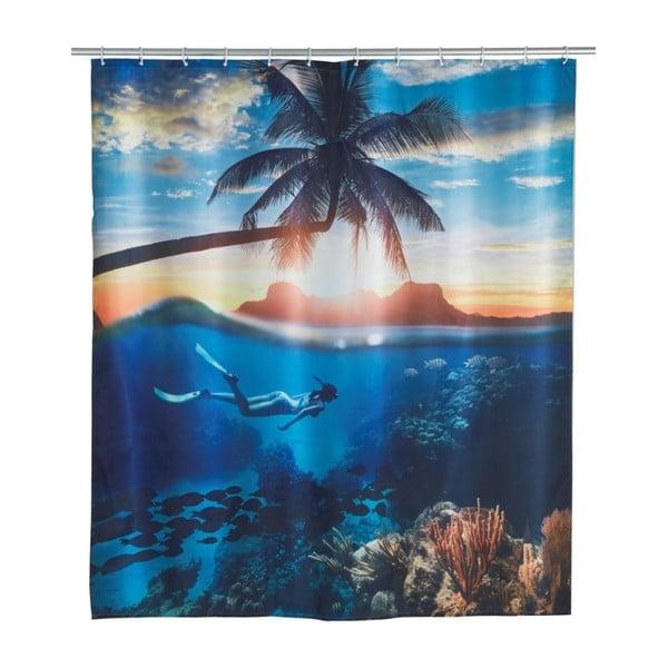 Paradise kék zuhanyfüggöny, 180 x 200 cm - Wenko
