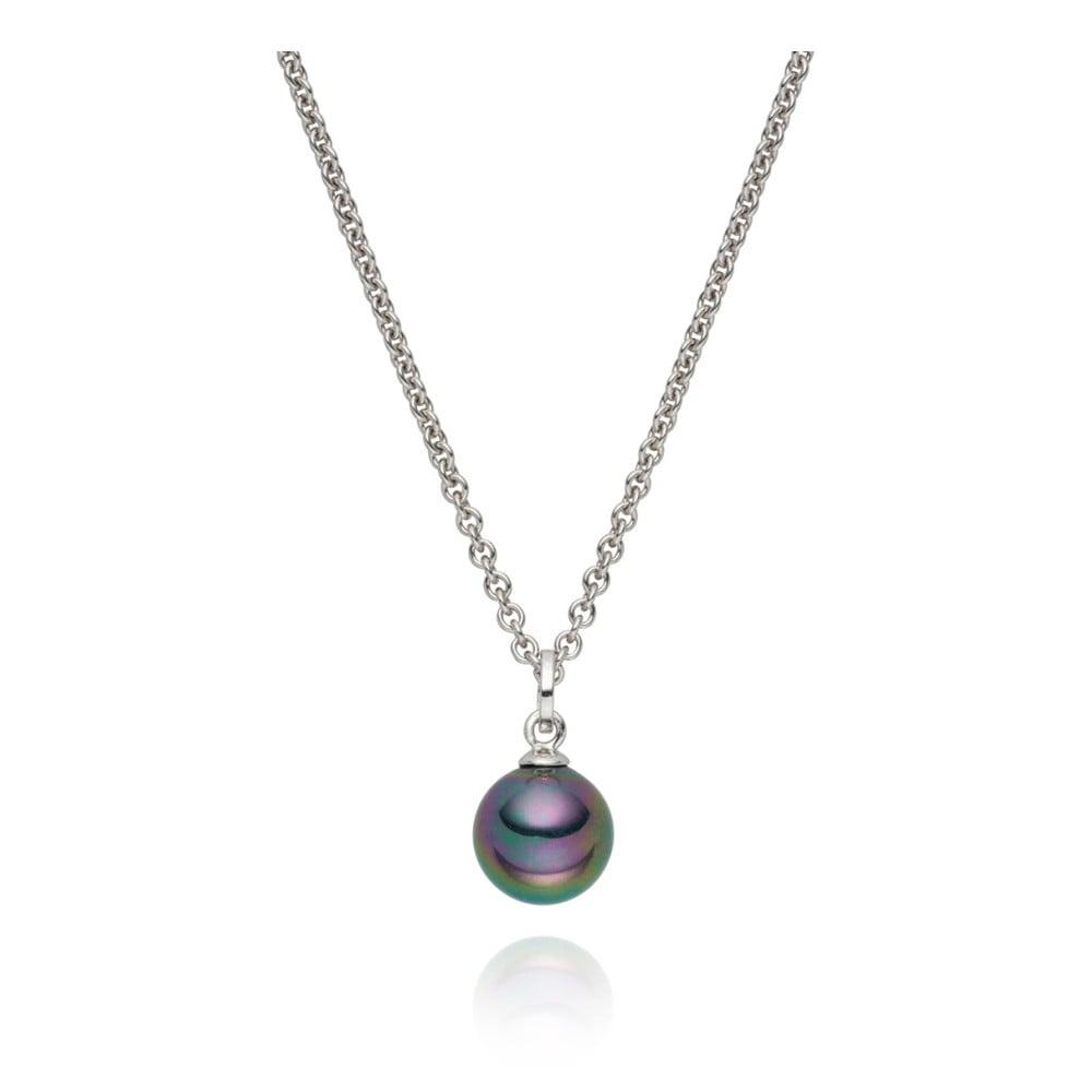 Antracitový náhrdelník s perlovým přívěskem Pearls Of London Nova Pearls Kirké