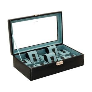 Černý box na 10 hodinek Friedrich Lederwaren Bond