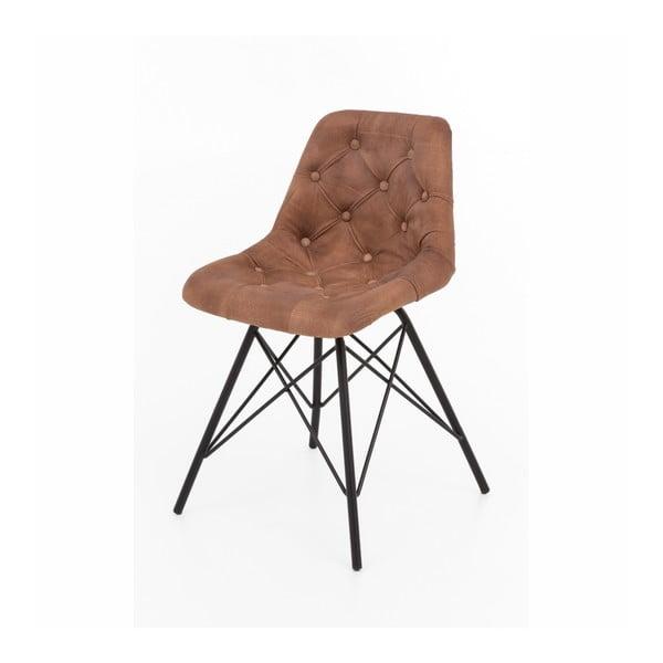 Sada 2 židlí s kovovou konstrukcí a koženým potahem WOOX LIVING