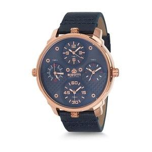 Pánské hodinky s černým koženým řemínkem Bigotti Milano Alexander