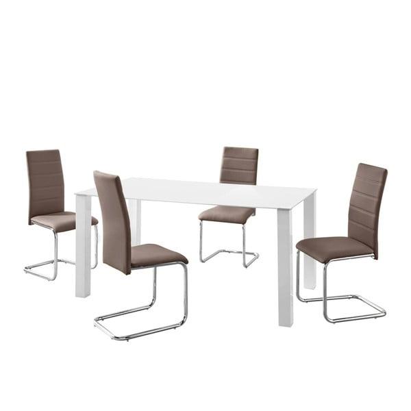 Sada stolu a 4 hnědých židlí Støraa Naral