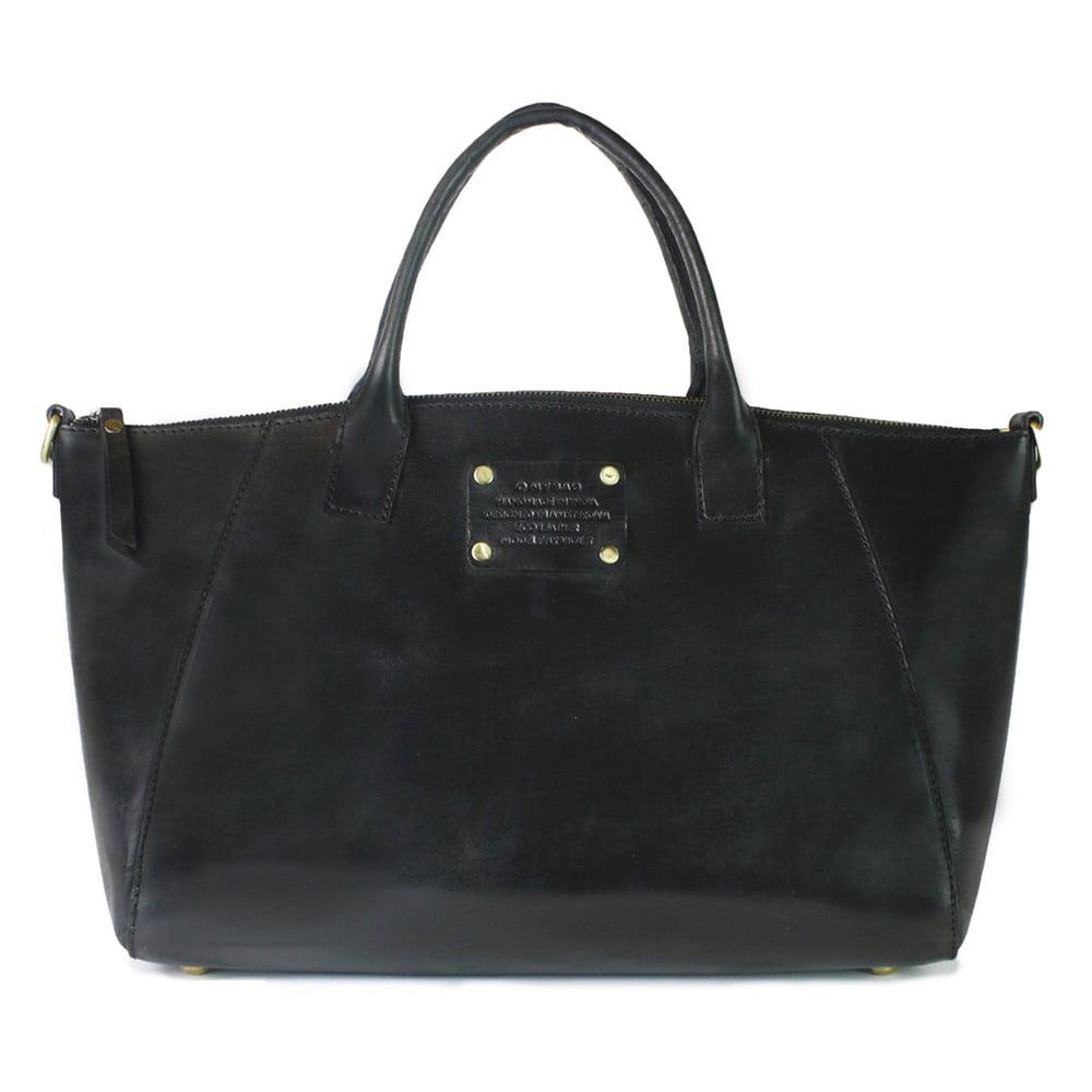 Černá kožená kabelka O My Bag Fly Violet Maxi