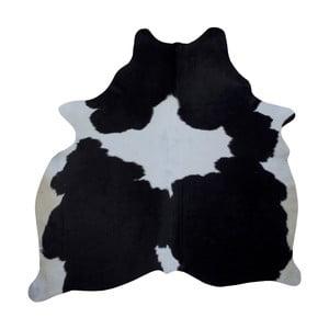 Černo-bílý koberec z hovězí kůže, 186 x 165 cm