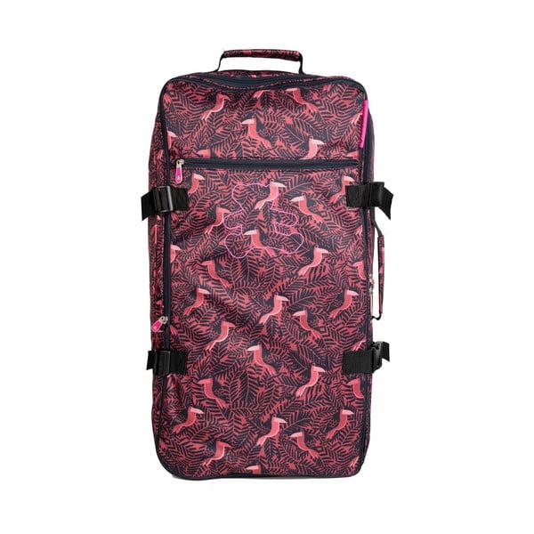 Červená cestovní taška na kolečkách Lulucastagnette Jungle, 91l