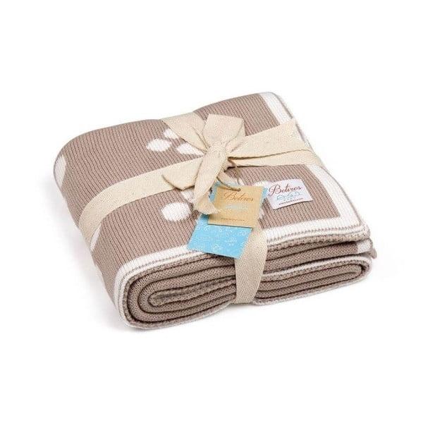 Baby Ecru Paws bézs pamut gyerek takaró, 90 x 90 cm
