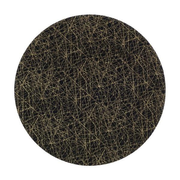 Czarny talerz z tworzywa sztucznego InArt Golden, ⌀ 33 cm