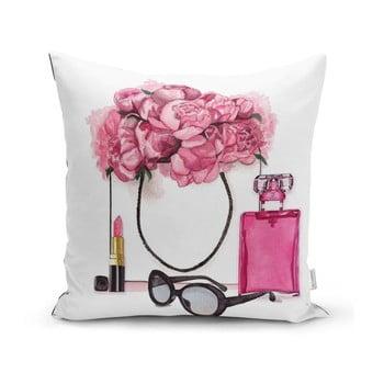 Față de pernă Minimalist Cushion Covers Pink Flowers and Perfume, 45 x 45 cm imagine